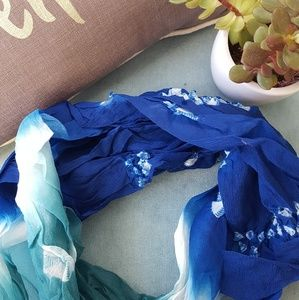 Accessories - Blue and teal gauze crinkle scarf
